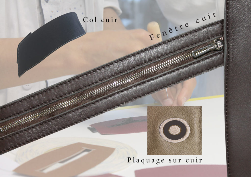 col cuir fenêtre cuir plaquage sur cuir
